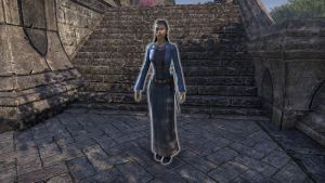 The girl can be found in front of the Skywatch Manor (From Skywatch, I offer she who reflect the heaven in her gaze and dress, drifting from dance to dance).