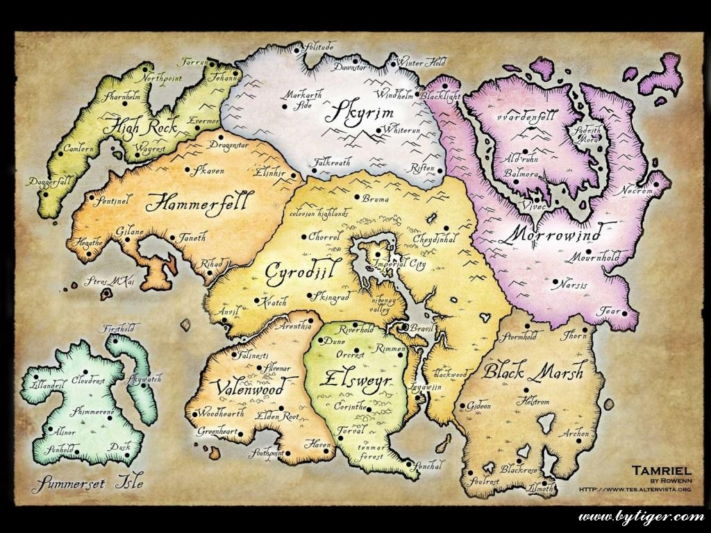 The division of The Elder Scrolls Online map into regions by parts ...